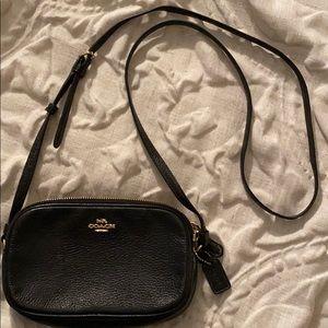 Coach Black Small Double slit Shoulder Bag